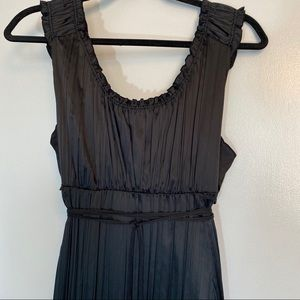 Peter Nygard | Black Satin Pleated Dress | Size 16